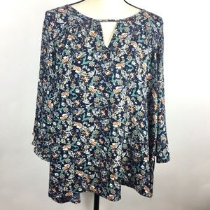 Pleione Womens Medium Blouse Flower Bell Sleeve